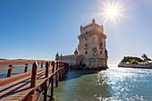 Torre de Belém (Belém Tower), officially called Torre de São Vicente (Tower of Saint Vincent), Santa Maria de Belém, Lisbon, Lisbon Metropolitan Area, Portugal