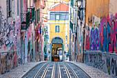 The rails of Elevador de Bica (Bica Elevator), Lisbon, Lisbon Metropolitan Area, Portugal