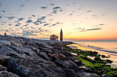 Dawn on the little church of Madonna dell'Angelo (Church of Blessed Virgin of the Angel), Caorle, Metropolitan CIty of Venice, Veneto, Italy