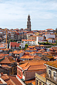 Overview of the old town of Porto, with Clérigos tower on the background, from the terrace of Porto Cathedral, Porto, Porto district, Norte Region, Portugal