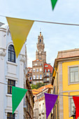 The Clérigos Tower from the alleys of old town of Porto, Porto, Porto district, Norte Region, Portugal