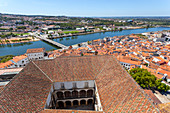 Overview of old town and Mondego river from the Tower of University, Coimbra, Coimbra district, Centro Region, Portugal.