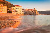 The beach of Marina Piccola at sunset, Santa Maria di Castellabate, Salerno province, Campania, Italy, Europe