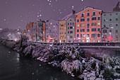 The historical Mariahilf facades on a snowy night, Innsbruck, Tyrol, Austria, Europe