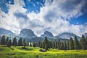 Old mountain hut at Alp Sellamatt. Alt Sankt Johann,Toggemburg,Canton of San Gallo, Switzerland, Europe