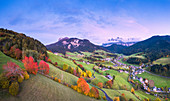 Panoramic view of the Funes Valley with the Odle peaks in the background. Dolomites, province of Bolzano, South Tirol, Italy, Europe.