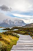 Chile,Patagonia,Magallanes and Chilean Antarctica Region,Ultima Esperanza Province,Torres del Paine National Park,a man walks the footbridge