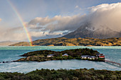 Chile,Patagonia,Magallanes and Chilean Antarctica Region,Ultima Esperanza Province,Torres del Paine National Park,rainbow on Lake Pehoé