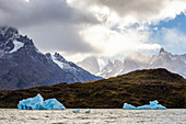 Chile, Patagonia, Magallanes and the Chilean region of Antarctica, Ultima Esperanza province, Torres del Paine National Park, icebergs float on Lake Grey