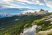 Italy,Veneto,Belluno district,Cortina d'Ampezzo,elevated view of lake Federa