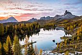Italy,Veneto,Belluno district,Cortina d'Ampezzo,lake Federa at dawn