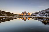 Italy,Veneto,Belluno district,Selva di Cadore,the northwest wall of mount Pelmo reflected in a small but very picturesque alpine lake