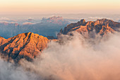 Italy,Veneto,Belluno district,Boite Valley,view from the top of Tofana di Mezzo at sunrise on the countless peaks of the Dolomites