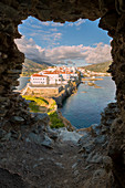 Andros village at sunrise viewed from an old ruined castle, Andros, Cyclades Archipelago, Greece, Europe