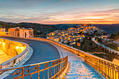 The enchanting hilltop town of Ragusa Ibla viewed from the stair of Santa maria delle Scale church, Ragusa, Sicily, Italy
