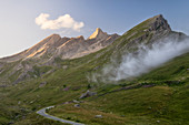 Pic D'asti illuminated by the setting sun on the road going up to the Colle dell'Agnello,Pontechianale,Piedmont, Italy