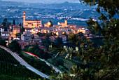 Dusk on a village in Langhe, Castiglione Tinella, Piedmont, Italy