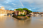 Rainbow behind Tiber Island during a flood of Tiber River\nEurope, Italy, Lazio Region, Province of Rome, Rome