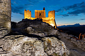 Castle of Rocca Calascio at dusk in the Gran Sasso and Monti della Laga National Park \nEurope, Italy, Abruzzo, Province of L'Aquila