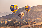 Hot air balloons flying in Goreme. Capadocia, Kaisery district, Anatolia, Turkey.