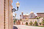 The domes of Hazrat Hizr Mosque in Samarkand historical ancient city. Sammarcanda, Uzbekistan, Central Asia.