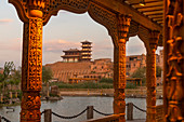 Pagoda and architecture in a green area of ancient city.  Kashgar, Xinjiang region, China.