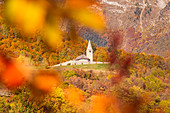 Cavedago church during autumnal foliage in Trentino mountains. Cavedago, Paganella, Brenta dolomites, Trento district, Trentino Alto Adige, Italy, Europe.