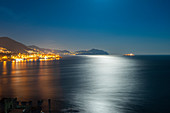 Night on east coast of Genoa, Liguria, Italy
