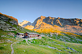 Sunset at Refuge Chalet de l Epee, Valgrisenche, Aosta Valley, Italian alps, Italy