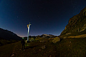 Night in the nearby of Refuge Chalet de l Epee, Valgrisenche, Aosta Valley, Italian alps, Italy