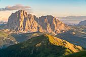Langkofel and Plattkofel shot from Seceda. Ortisei, Bolzano province, Trentino Alto Adige, Italy.