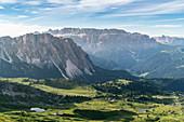 Sella group shot from Seceda in summer. Ortisei, Bolzano province, Trentino Alto Adige, Italy.