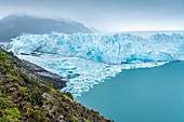 The northern snout of Perito Moreno Glacier and icebergs on a moody day. Lago Argentino department, Santa Cruz province, Argentina.