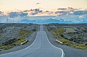 The road that leads to El Calafate at sunset. Santa Cruz province, Argentina.