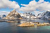 Sariskoy village in winter, from an elevated point of view. Reine, Lofoten district, Nordland county, Northern Norway, Norway.