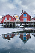 Traditional 'rorbu' houses reflected on the frozen fjord. Reine, Lofoten district, Nordland county, Northern Norway, Norway.