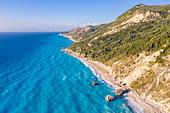 Aerial view of Megali Petra beach, Lefkada, Ionian Islands region, Greece.