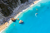 Aerial view of rock and sandy beach of Megali Petra beach. Lefkada, Ionian Islands region, Greece.