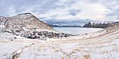 Panoramic view of the village of Funningur (Eysturoy island, Faroe Islands, Denmark)