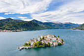 Aerial view of San Giulio Island and the Lake Orta (Orta San Giulio, Lake Orta, Novara province, Piedmont, Italy, Europe)