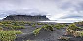 Vestrahorn mountain and the black sand dunes (Stokksnes Penisula, Hofn, Eastern Region, Iceland, Europe)