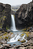 Folaldafoss waterfall along the road 939 for the Öxi Pass (Berufjörður, Eastern Region, Iceland, Europe)