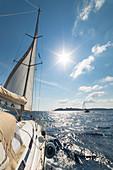 Sailing in the Archipelago of La Maddalena (Capraia island, Archipelago of La Maddalena National Park, Sassari province, Sardinia, Italy, Europe)\n