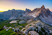 Italy, South Tyrol, Dolomites, Sexten Dolomites, Paterno/Paternkofel and Piani lakes at sunrise\n