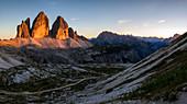 Tre Cime di Lavaredo at sunset, Dobbiaco, Bolzano, Trentino Alto Adige, Italy, Western Europe