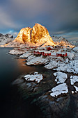 View from a bridge at sunrise over Hamnoy, Moskenes, Moskenesoya, Nordland, Lofoten, Norway, Northern Europe