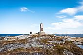 Memorial Sanct Svithun (Hurtigrute) on the island Nordöyan, fishing village, Folda, Namdalen, Trondelag, Norway