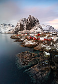 View of Hamnoy at sunset, Hamnoy, Moskenes, Moskenesoya, Nordland, Lofoten, Norway, Northern Europe