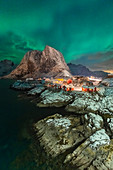 View of Hamnoy during northern lights, Hamnoy, Moskenes, Moskenesoya, Nordland, Lofoten, Norway, Northern Europe