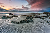 Sunset at Skagsanden beach, Flakstadoya, Nordland, Lofoten, Norway, Northern Europe